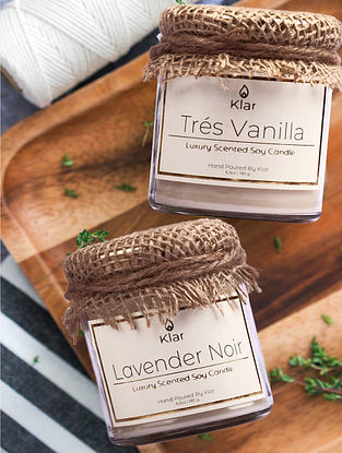 Tres Vanilla & Lavender Noir - Luxury Scented Soy Candle Giftset - Set of 2
