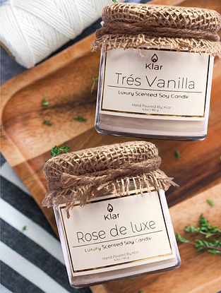 Tres Vanilla & Rose De Luxe - Luxury Scented Soy Candle Giftset - Set of 2