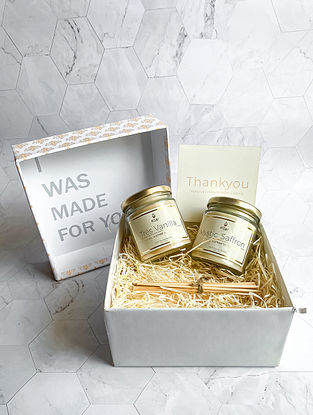 Tres Vanilla & Mystic Saffron - Luxury Scented Soy Candle Giftset - Set of 2