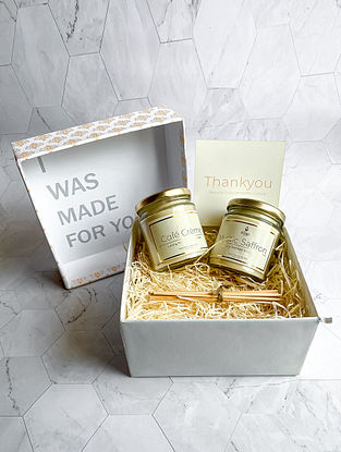 Mystic Saffron & Cafe Creme - Luxury Scented Soy Candle Giftset - Set of 2