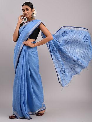 Blue Jamdani Linen Saree