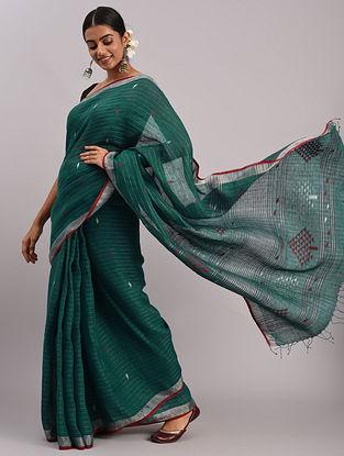 Green Jamdani Linen Saree