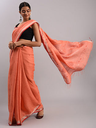 Pink Jamdani Linen Saree