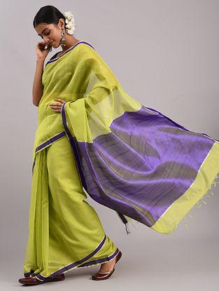 Green Cotton Silk Chanderi Saree