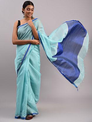 Blue Cotton Silk Chanderi Saree