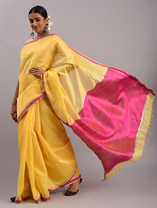 Yellow Cotton Silk Chanderi Saree
