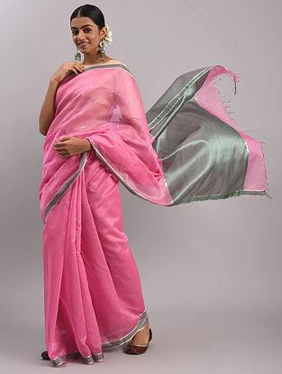 Pink Cotton Silk Chanderi Saree