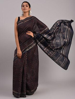 Blue Dabu Handblock Printed Silk Cotton Saree
