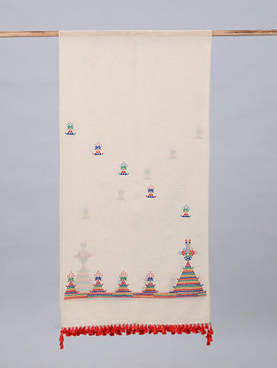White Soof Embroidered Maheshwari Silk Stole