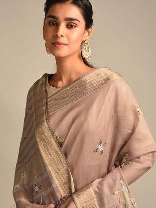 Purple Soof Embroidered Maheshwari Silk Saree
