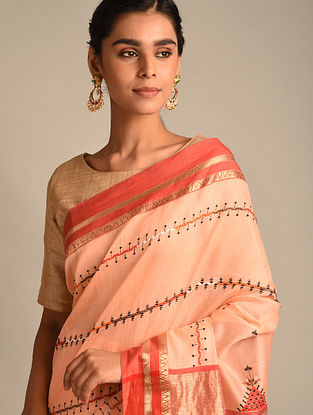 Cream Soof Embroidered Maheshwari Silk Saree