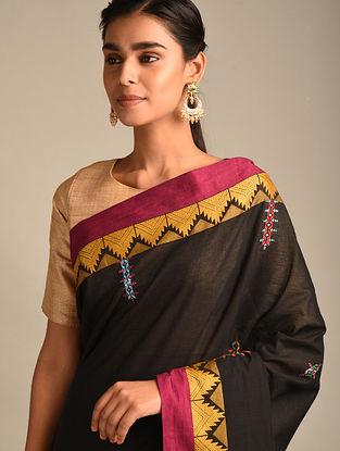 Black Soof Embroidered Cotton Saree