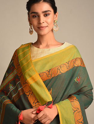 Green Soof Embroidered Cotton Saree