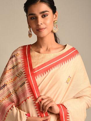 Cream Soof Embroidered Cotton Saree