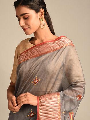 Grey Soof Embroidered Maheshwari Silk Saree