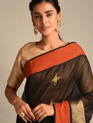 Black Soof Embroidered Maheshwari Silk Saree