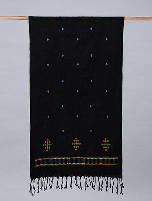 Black Soof Embroidered Cotton Stole