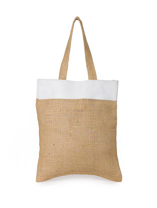 White Handcrafted Jute Tote Bag