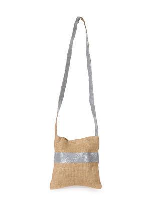 Silver Handcrafted Jute Sling Bag