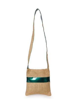 Emerald Green Handcrafted Jute Sling Bag