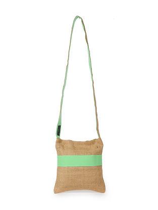 Mint Green Handcrafted Jute Sling Bag