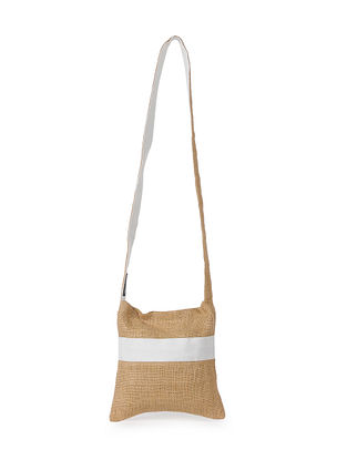 White Handcrafted Jute Sling Bag