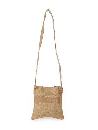 Gold Handcrafted Jute Sling Bag