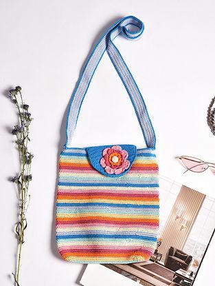 Multicolored Handcrafted Crochet Cotton Tote Bag