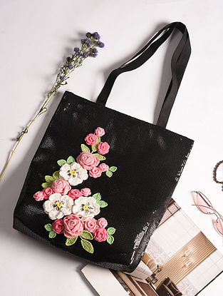 Black Handcrafted Sequinned Crochet Cotton Tote Bag