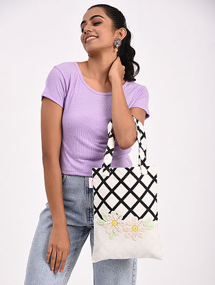 Black White Handcrafted Crochet Cotton Tote Bag