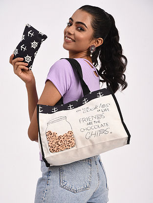 Black White Handcrafted Crochet Cotton Tote Bag with Pouch