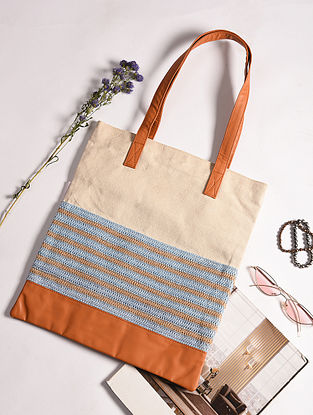 Beige Blue Handcrafted Crochet Cotton Tote Bag