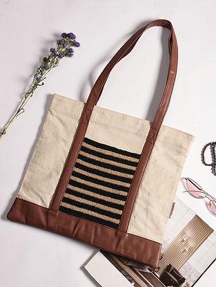 Beige Black Handcrafted Crochet Cotton Tote Bag