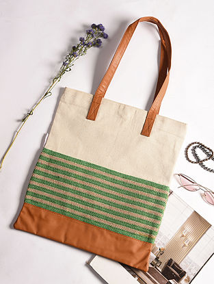 Beige Green Handcrafted Crochet Cotton Tote Bag