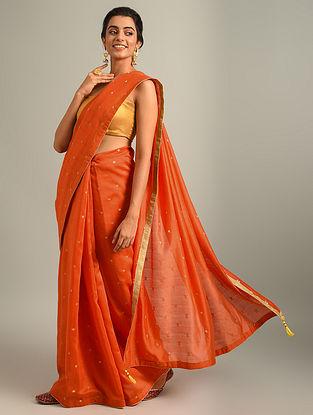 Orange Handwoven Chanderi Jacquard Saree