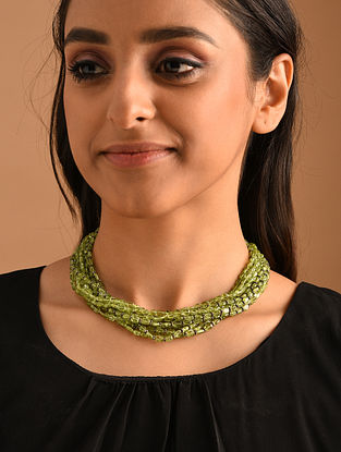 Green Silver Necklace with Peridot