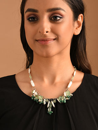 White Green Silver Necklace with  Biwa Pearls