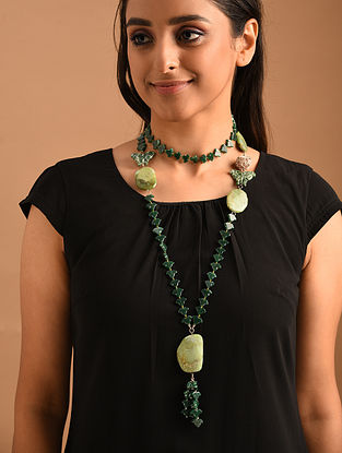 Green Silver Lariat Necklace with Aventurine