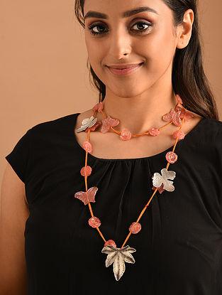 Peach Silver Necklace with Cherry Quartz
