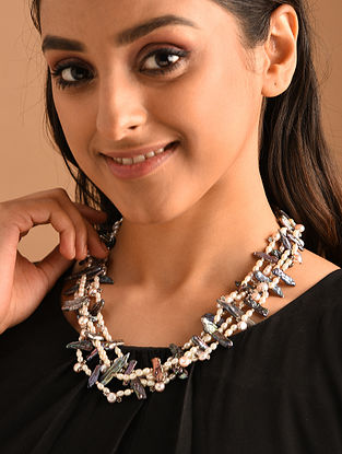 Grey White Silver Necklace with Pearls