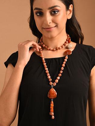 Orange Silver Necklace with Carnelian