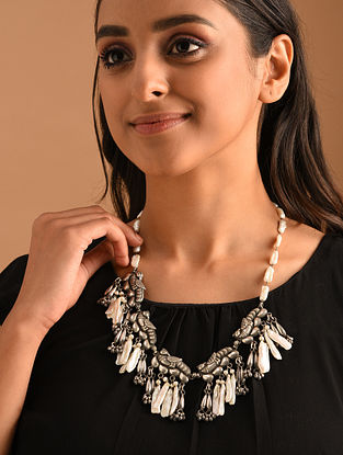 White Silver Necklace with Biwa Pearls
