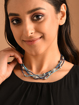 Turquoise Blue Silver Necklace with Turquoise and Lapis