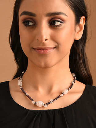 Pink Maroon Silver Necklace with Garnet and Rose Quartz