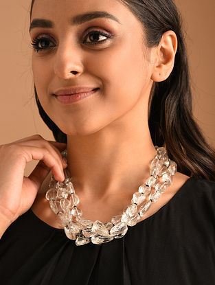 White Silver Necklace with Faceted Crystal