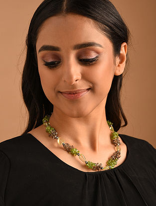 Lemon Green Brown Silver Necklace with Peridot and Smoky Topaz