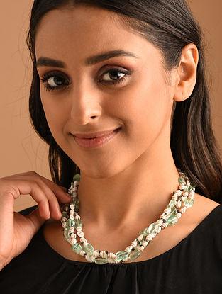Green White Silver Necklace with Flourite Tumble