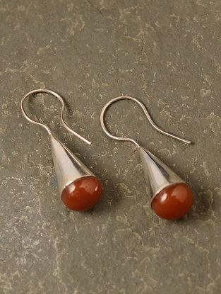Rust Silver Earrings with Carnelian