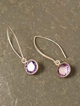 Purple Silver Earrings with Amethyst