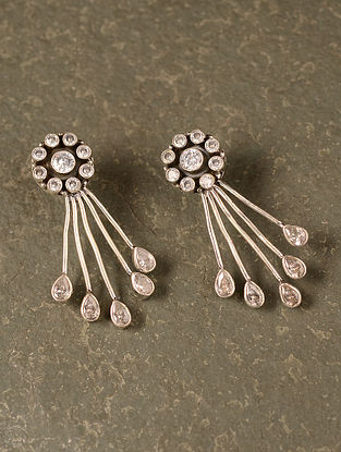 White Silver Earrings with Topaz